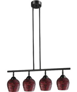 Elk Lighting Celina 4-Light Kitchen Island Pendant Dark Rust with Copper Glass 101534DRCPR