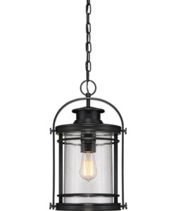 Quoizel Booker 1-Light Outdoor Pendant Light Mystic Black BKR1910KFL